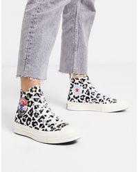 Converse Chuck '70 Hi Flocked Leopard Print Sneakers-multi - White