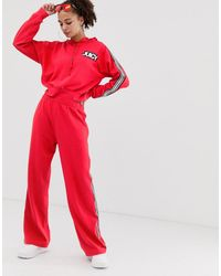Juicy Couture Juicy By Wide Leg sweatpants With Ankle Logo & Taping Co-ord - Red