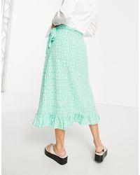 Vero Moda Wrap Frill Midi Skirt - Green