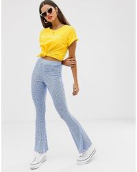 Daisy Street Flares In Floral Gingham Print - Blue