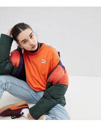 PUMA - Exclusive To Asos Sweatshirt With Taped Side Stripe In Orange - Lyst
