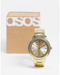 ASOS Montre bracelet avec motif vague grecque - Métallisé