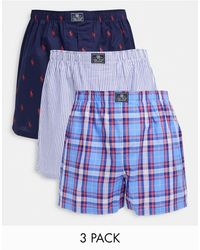 Polo Ralph Lauren 3 Pack Woven Boxers - Blue