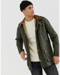 5b0bc7924 Ashby Lightweight Wax Jacket With Contrast Collar In Olive - Green