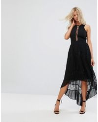 Adelyn Rae - Irina Pleeated Lace Insert Maxi Dress - Lyst