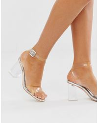 SIMMI Shoes Simmi London Kehlani Silver Clear Flared Heel Sandals - Metallic