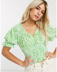 Faithfull The Brand Top de manga corta con estampado floral Lini de Faithfull-Verde