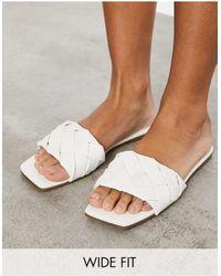 Raid Wide Fit Eleah Plaited Flat Sandals - White
