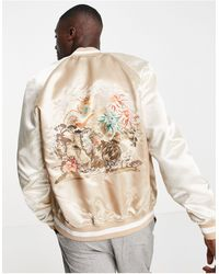 TOPMAN Souvenir - giacca con ricamo sul retro, colore pietra - Neutro
