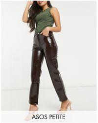 ASOS Asos Design Petite Mid Rise '90's' Straight Leg Jeans - Red