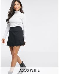 ASOS Asos Design Petite Tailored A-line Mini Skirt With Scallop Hem - Black