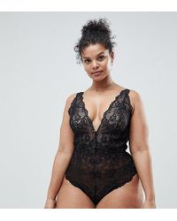 ASOS - Asos Design Curve Blair High Leg Lace Body With Lace Up Back - Lyst