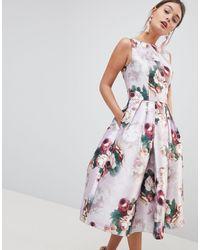 Chi Chi London Платье Миди С Цветочным Принтом -розовый