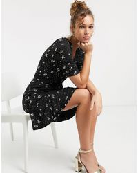 Oasis Skater Dress With Balloon Sleeves - Black