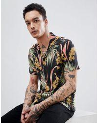AllSaints - Short Sleeve Revere Shirt With Tropical Print - Lyst