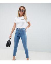 ASOS - Asos Design Petite Ridley High Waist Skinny Jeans In Pretty Mid Stonewash Blue - Lyst