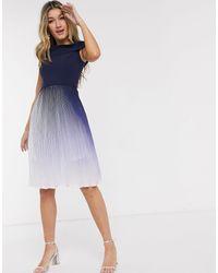 Chi Chi London Pleated Ombre Midi Dress - Blue