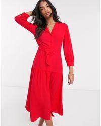 Warehouse Tiered Lapel Midi Dress