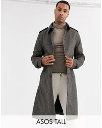 ASOS Tall Single Breasted Wool Mix Trench - Brown