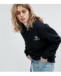 Converse - Exclusive To Asos Sweatshirt In Black With Neon Logo - Lyst