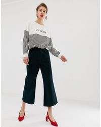 Warehouse Wide Leg Cropped Trousers - Green