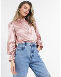 Miss Selfridge Satin Oversized Shirt - Pink