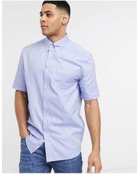 Fred Perry Синяя Оксфордская Рубашка С Короткими Рукавами -голубой - Синий