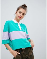 Pull&Bear - Green Rugby Top - Lyst