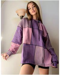 The Ragged Priest Hoodie oversize d'ensemble en patchwork pastel - Violet