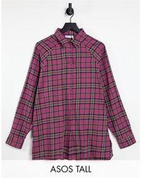 ASOS - Camisa estilo boyfriend a cuadros rojo oscuro y azul marino - Lyst