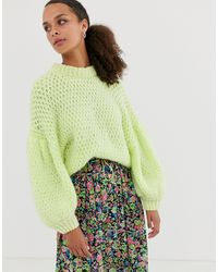 ASOS Neon Stitch Detail Sweater With Balloon Sleeve - Green