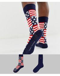 Tommy Hilfiger Набор Из 2 Пар Носков С Американским Флагом Tommy Jeans-мульти - Синий