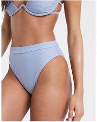 Missguided Mix And Match High Waisted Bikini Bottom - Blue