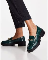 TOPSHOP Luka Chain Loafers - Green