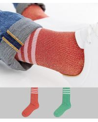 ASOS - Christmas Sports Style Socks With All Over Glitter In Red & Green 2 Pack - Lyst
