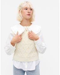 Monki Белый Вязаный Жилет С Цветочной Вышивкой Unni
