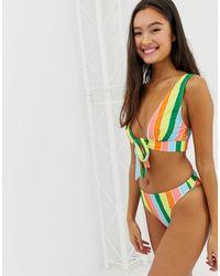 Playful Promises Rainbow Stripe High Leg Bikini Bottoms - Multicolor