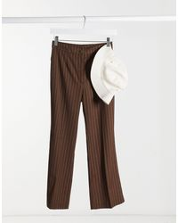 Monki Wendy Flared Tailored Trousers - Brown