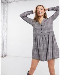 New Look Серое Мини-платье В Клетку С Пуговицами Спереди -серый