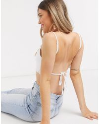 ASOS Backless Crop Top With Tie Detail - White