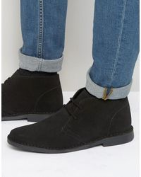 Red Tape Desert Boots Black Suede - Black