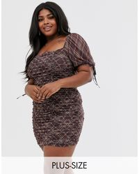 Skylar Rose Plus Ruched Mini Dress - Multicolour
