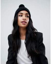 Missguided - Knitted Bobble Hat In Black - Lyst
