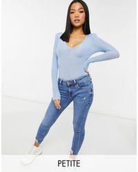 River Island V-neck Long Sleeved Bodysuit - Blue