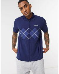 adidas Originals Zip Through Polo With Argyle Print - Blue