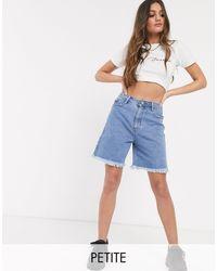 Missguided Longline Denim Shorts - Blue