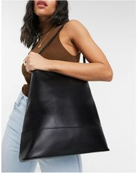 ASOS Leather Clean Structured Tote Bag - Black