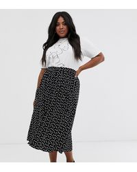 ASOS Asos Design Curve Midi Skirt With Pockets And Buttons In Heart Print - Black