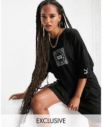 PUMA In esclusiva per ASOS - - Off Beat - Vestito t-shirt nero con stampa cachemire