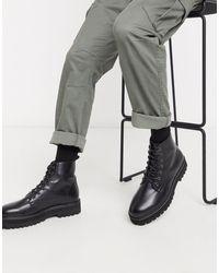 ASOS Черные Ботинки Из Искусственной Кожи На Шнуровке И Массивной Подошве - Черный